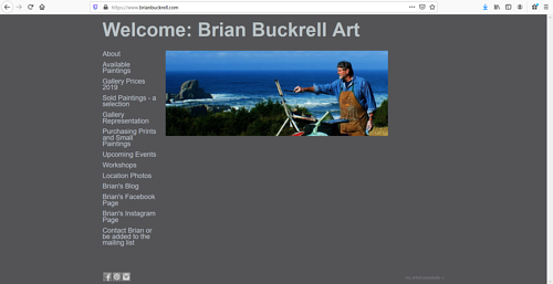The front page of Brian Buckrell's art portfolio website
