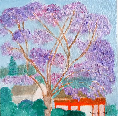 An expressive painting of trees with purple leaves