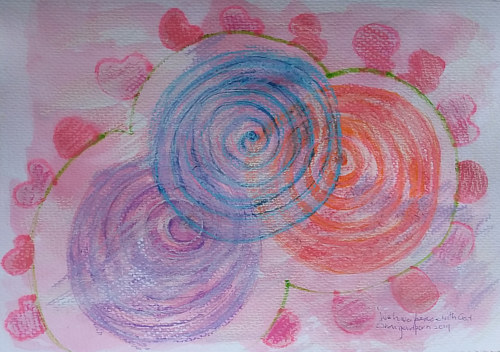 A pastel and watercolour artwork with intersecting circles
