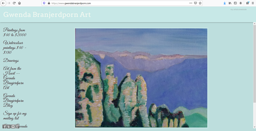 The front page of Gwenda Branjerdporn's art website