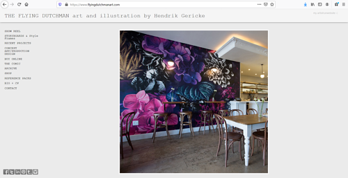 The front page of Hendrik Gericke's art and design website