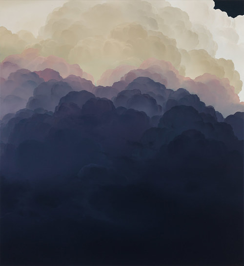 A painting of a cloud formation with purple and yellow hues
