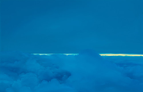 A painting of a cloud formation with light breaking on the horizon