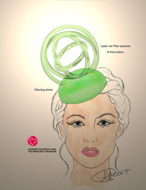 A concept sketch for a futuristic fascinator