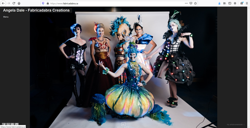 A screen capture of Angela Dale's fashion portfolio website