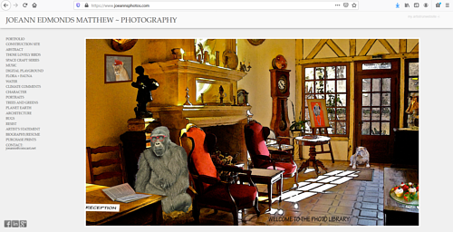 A screen capture of Joeann Edmonds-Matthew's art portfolio website