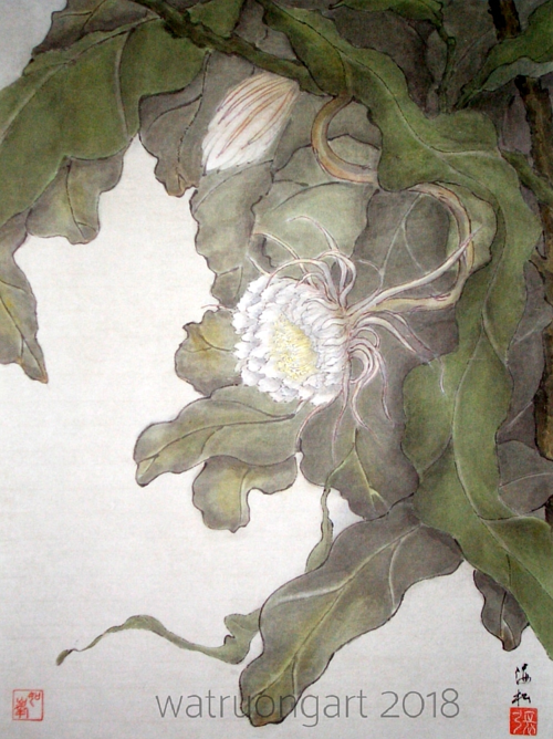 A watercolour painting of a white lotus