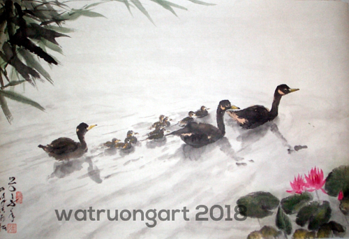 A painting of a family of ducks on the water