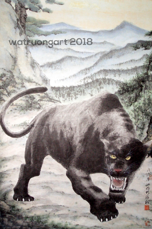 A painting of a black panther