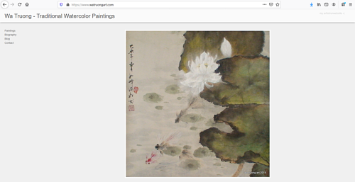 The front page of Wa Truong's art portfolio website