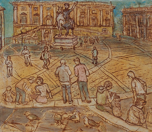 A painting of a crowd of people in a town square