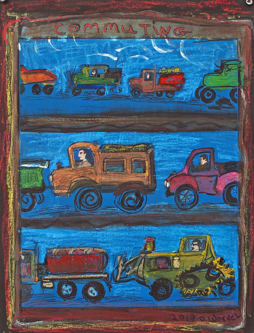 A painting of cars in a folk-art style