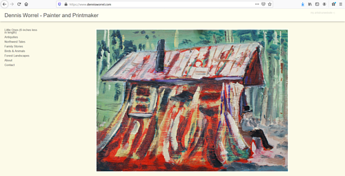 The front page of Dennis Worrel's art portfolio website