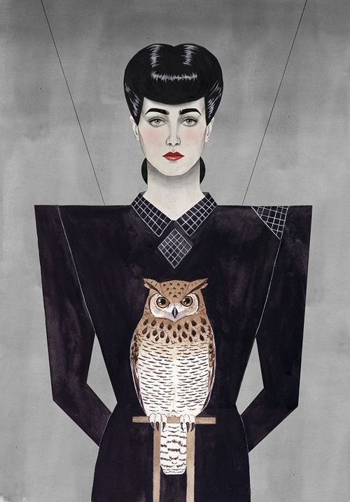 Painting of woman with black hair and dress with owl