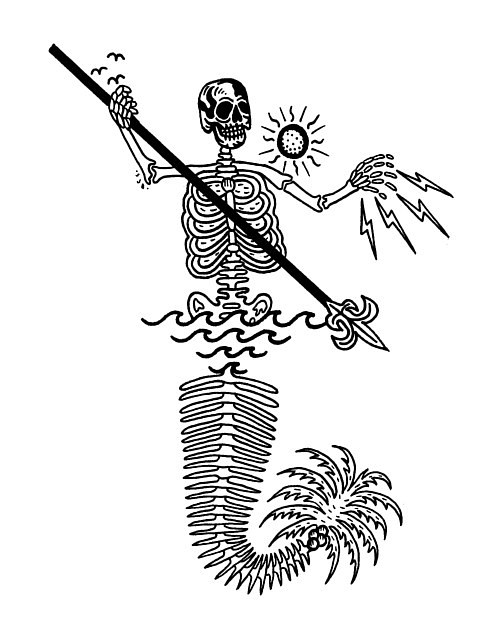 A drawing of a skeletal mermaid holding a spear