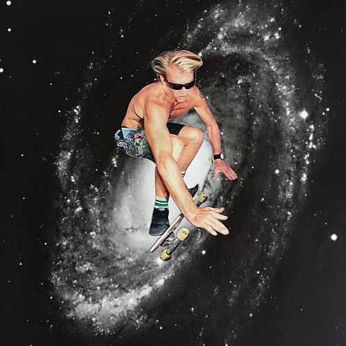 A photo collage of a man skateboarding in front of a galaxy