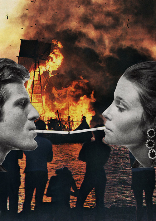 A photo collage of a young couple superimposed over a burning fire
