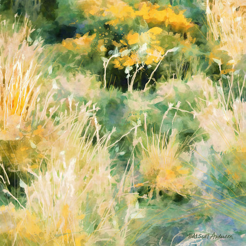 A painting of a meadow with green and yellow tones