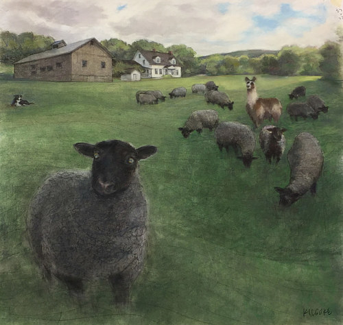 A pastel drawing of a farm in Vermont with black sheep
