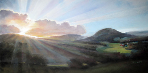 A pastel drawing of a sunrise breaking over a hill