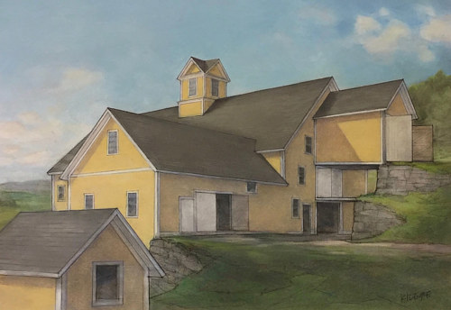 A pastel drawing of a farmhouse in Vermont