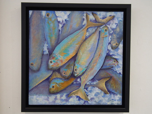 A painting of colourful fish