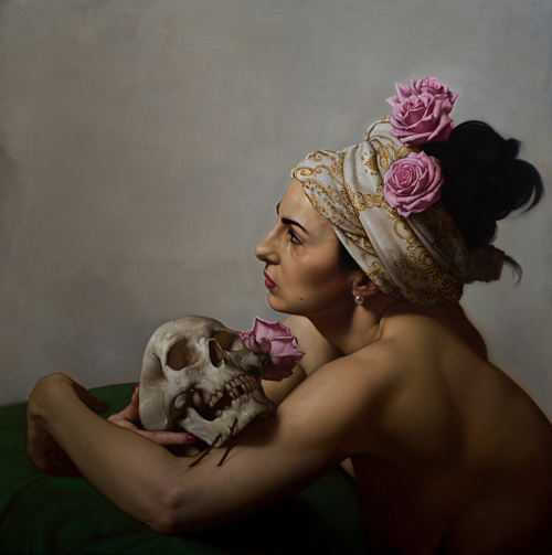 A painting of a woman holding a skull