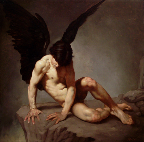 A painting of an angel will black wings