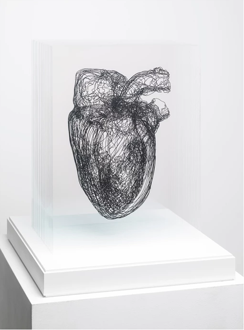 A work made from a series of layers of drawing etched into glass