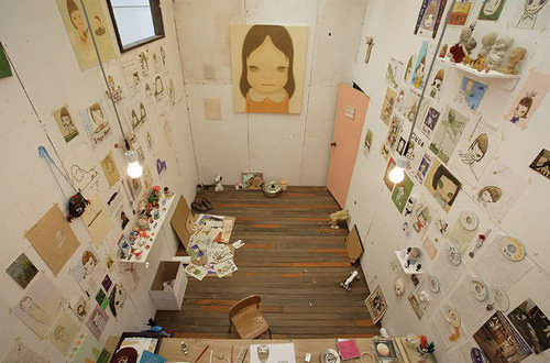 A bird's eye view of the studio of artist Nara Yoshimoto.
