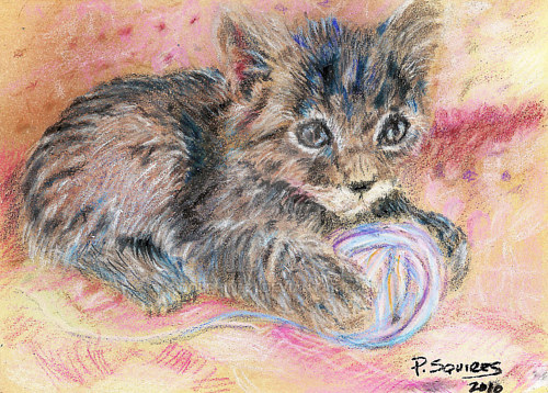 A pastel drawing of a kitten with a ball of yarn