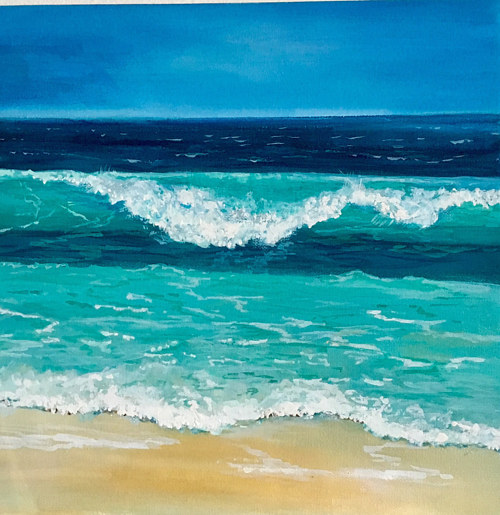 A painting of a wave crashing over a white sandy beach