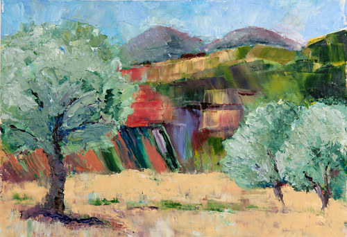 A plein air painting of an olive grove