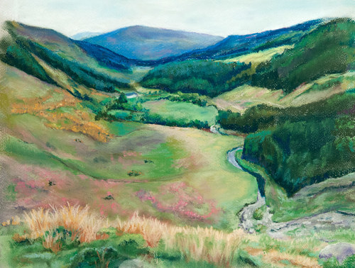 A pastel drawing of a valley in Ireland