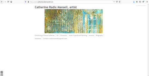 The front page of Catherine Radix Mansel's art portfolio website