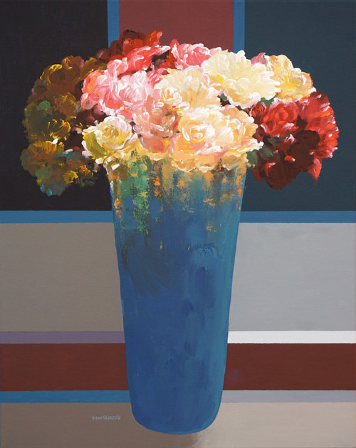 A painting of a bouquet of flowers in a blue vase