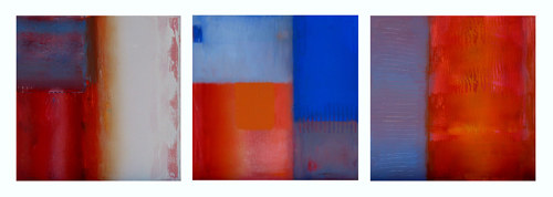 A series of paintings using deep autumn colours in abstract compositions