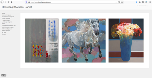 The front oage of Hooshang Khorasani's art portfolio website