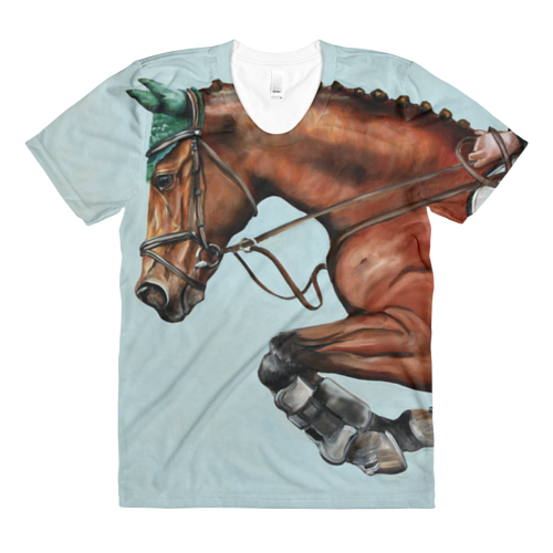 A painting of a jumping horse printed on a t-shirt