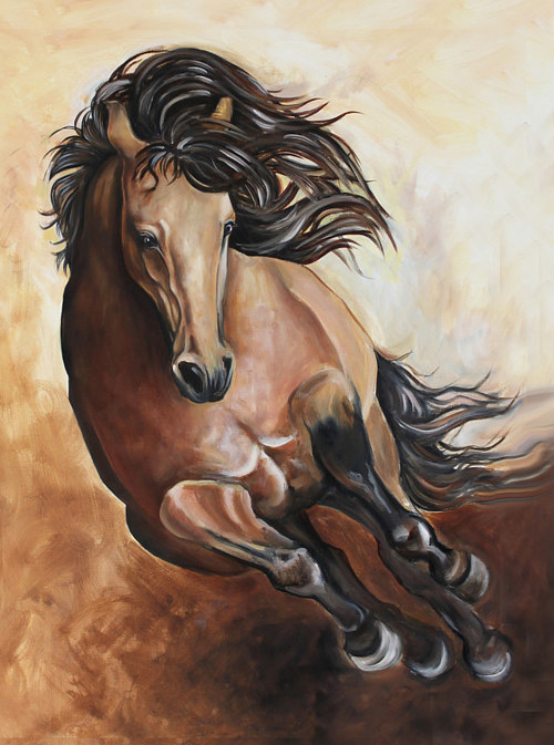 A painting of a jumping horse