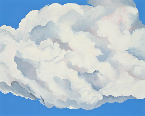 A painting of a white cloud against a blue background