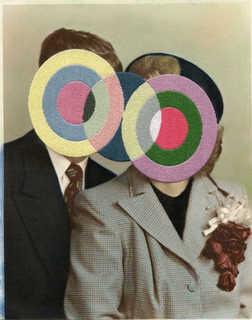 An artwork consisting of coloured circled embroidered over an old couple photograph