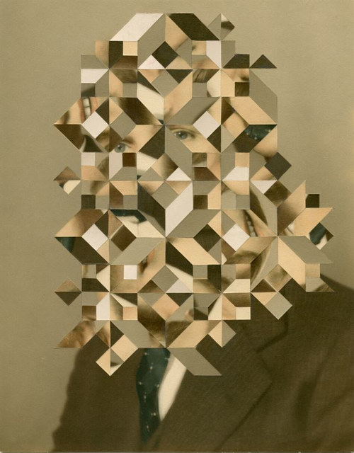 A photograph of a man manipulated with geometric shapes