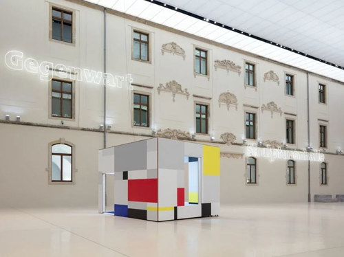 An installation view of a Piet Mondrian themed room