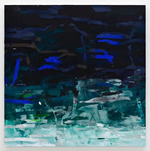 A painting with deep blue and green hues