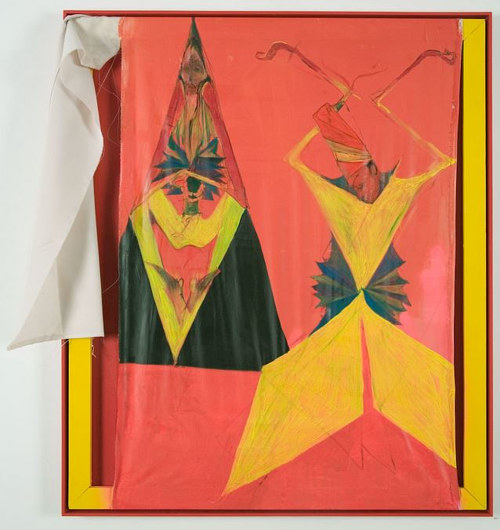 A photo of a painting with two abstracted figures