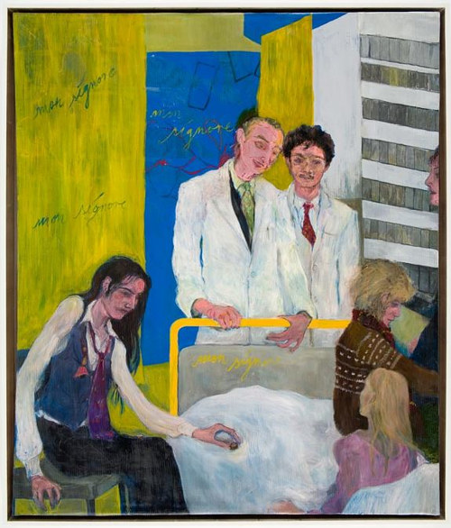 A painting of several figures around a hospital bed