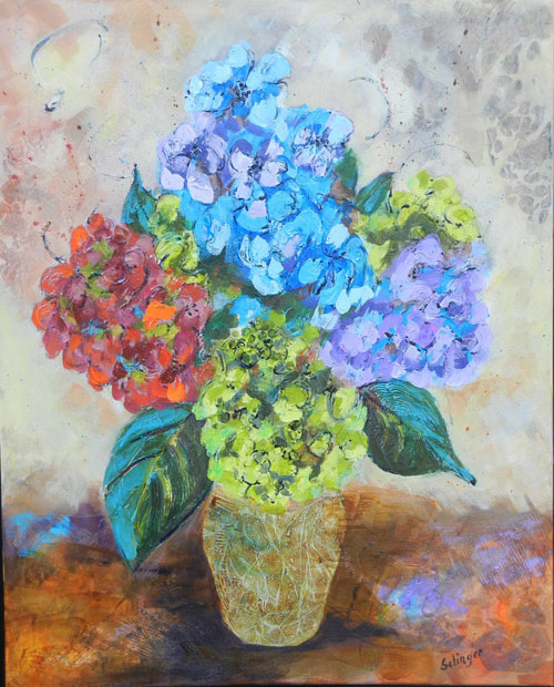 A painting of bright flowers in a vase
