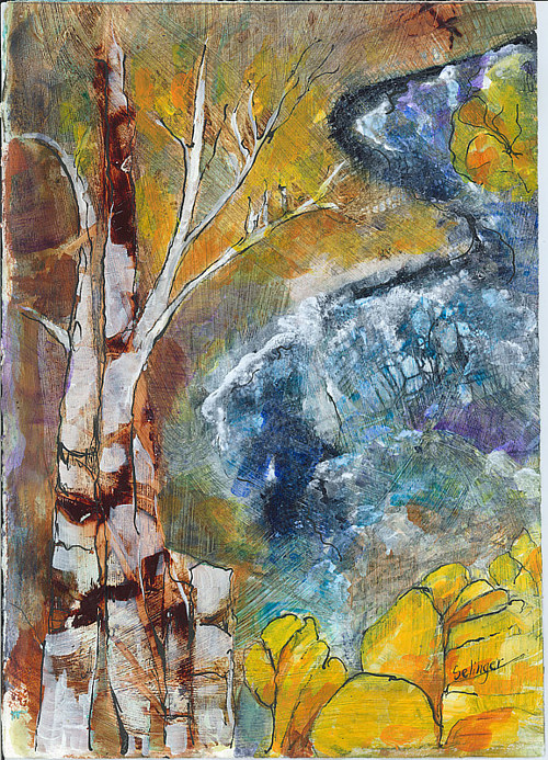 A mixed media artwork depicting birch trees in front of a stream