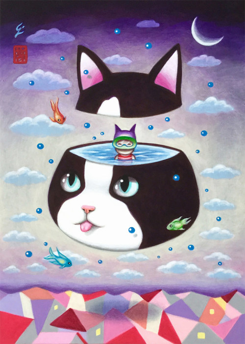 A surreal painting of a cat